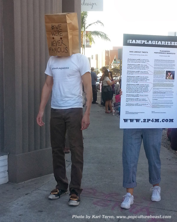 Scotch Wichmann protesting Shia LaBeouf at Cohen Gallery in Los Angeles