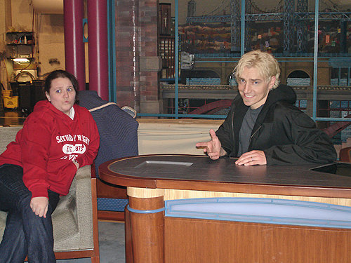 Scotch Wichmann on the David Letterman set